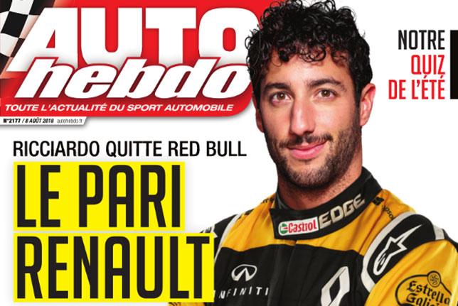 Даниэль Риккардо на обложке августовского номера журнала Auto Hebdo