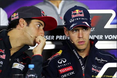 Даниэль Риккардо и Себастьян Феттель на пресс-конференции перед Гран При Германии