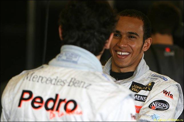 Педро де ла Роса и Льюис Хэмилтон. Тесты McLaren. Октябрь 2006. Херес