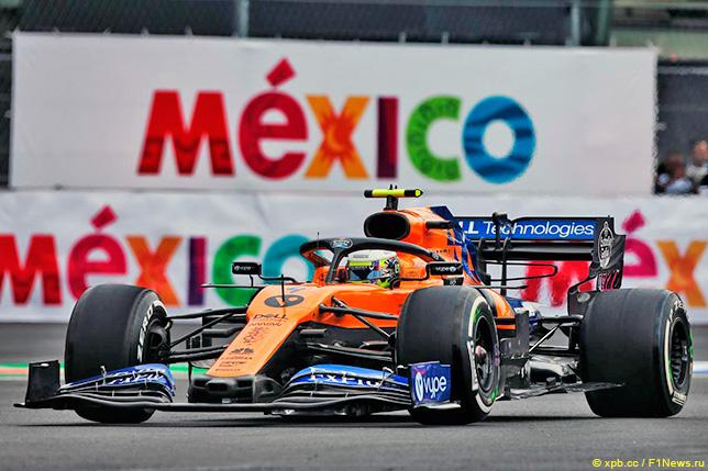 Ландо Норрис на трассе в Мексике