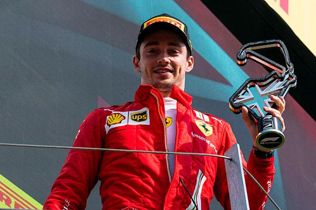 Шарль Леклер на подиуме в Сильверстоуне, фото пресс-службы Ferrari
