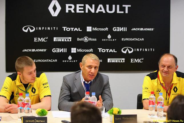 Сергей Сироткин, Борис Ротенберг и Фредерик Вассёр на пресс-конференции в моторхоуме Renault