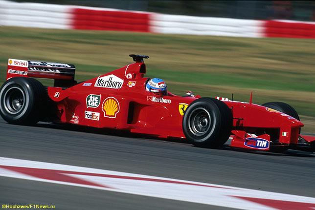 Мика Сало за рулём Ferrari на трассе Гран При Европы, 1999 год