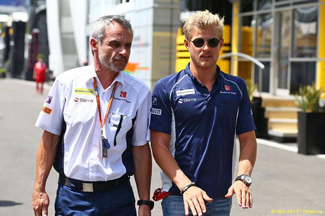 Беат Цендер и Маркус Эриксон на Гран При Австрии, 2016 год