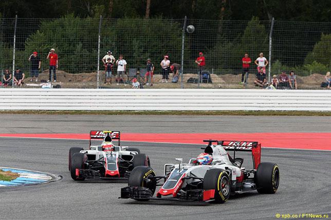 Роман Грожан и Эстебан Гутьеррес на трассе Гран При Германии