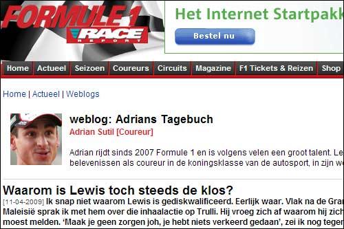 Блог Адриана Сутила на Formule 1 Race Report
