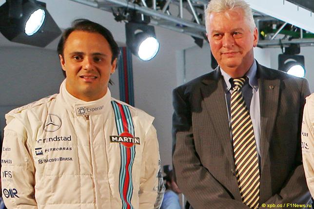 Фелипе Масса и Пэт Симондс на презентации Williams, 2014 год