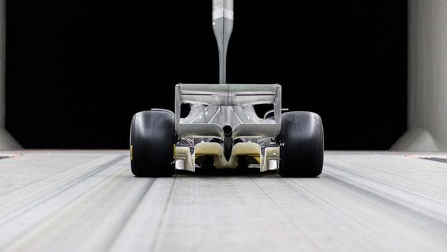 Испытания прототипа машины 2021 года в аэродинамической трубе. Фото: Twitter F1