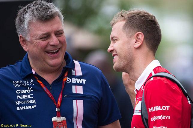 Отмар Сафнауэр, руководитель команды Racing Point, и Себастьян Феттель на Гран При США 2017 года