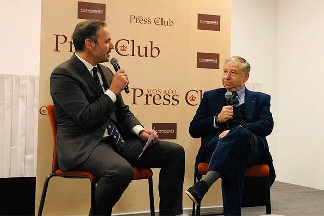 Жан Тодт в Пресс-клубе Монако, фото из Twitter президента FIA