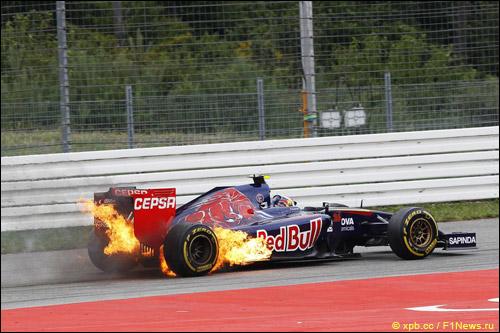 Возгорание машины Даниила Квята