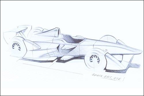 Эскиз будущей машины Формулы E. Рисунок Spark Racing Technologies