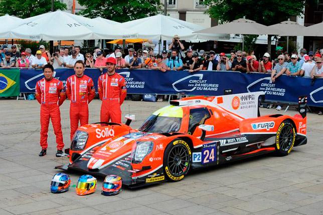 Тор Грейвс, Джонатан Хирши и Жан-Эрик Вернь и их машина Oreca 07 команды Manor в Ле-Мане
