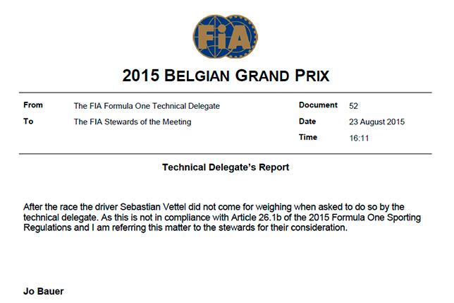 Отчёт технического делегата FIA Джо Бауэра о нарушении Феттеля
