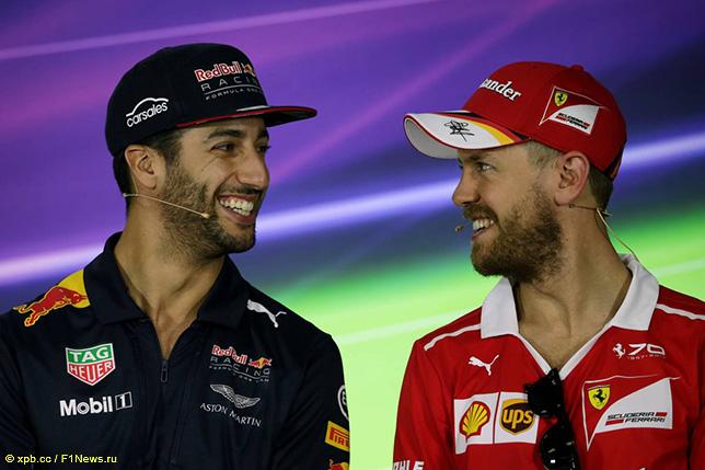 Даниэль Риккардо и Себастьян Феттель на пресс-конференции FIA в Мельбурне