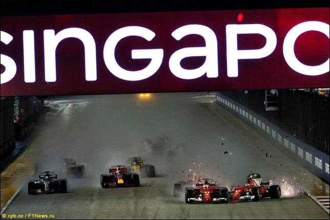 Инцидент между пилотами Ferrari на старте Гран При Сингапура