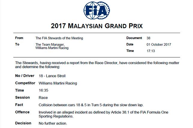 Гонщиков Феттеля иСтролла ненакажут застолкновение после финиша Гран-при Малайзии