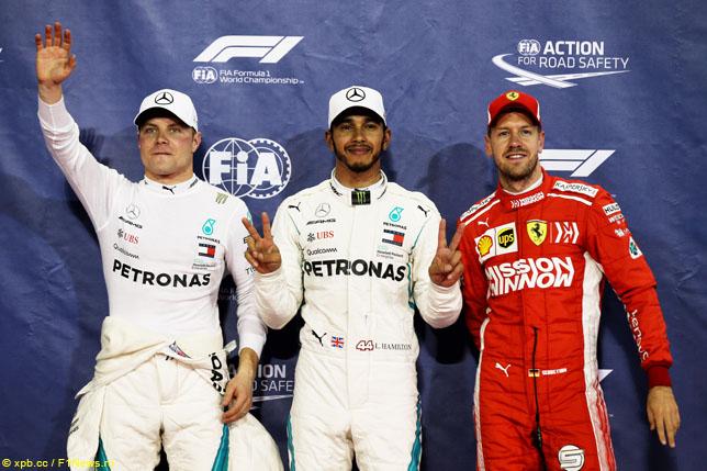 Валттери Боттас, Льюис ХЭмилтон и Себастьян Феттель после квалификации Гран При Абу-Даби