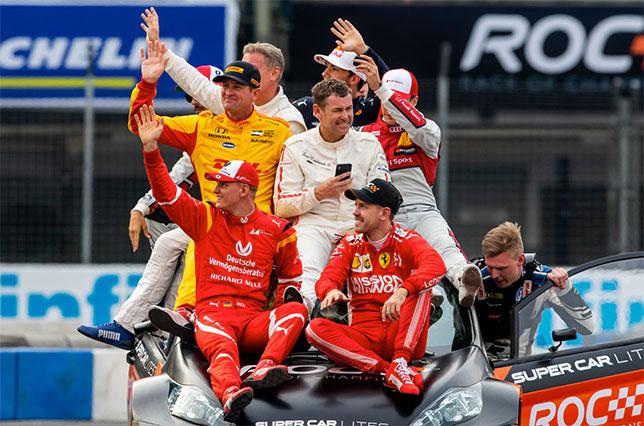 Участники Гонки чемпионов, на переднем плане - Мик Шумахер и Себастьян Феттель