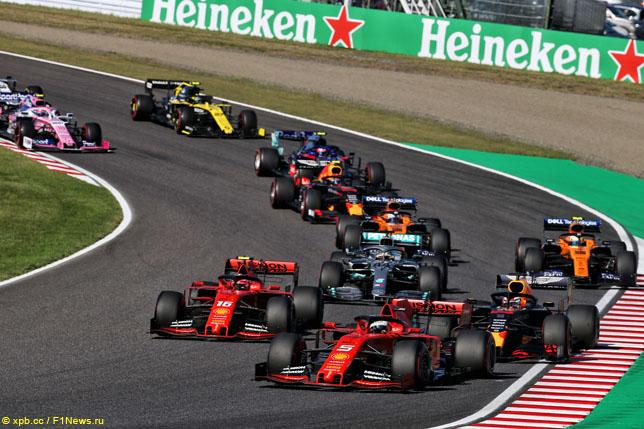 Гонщики Ferrari на старте Гран При Японии