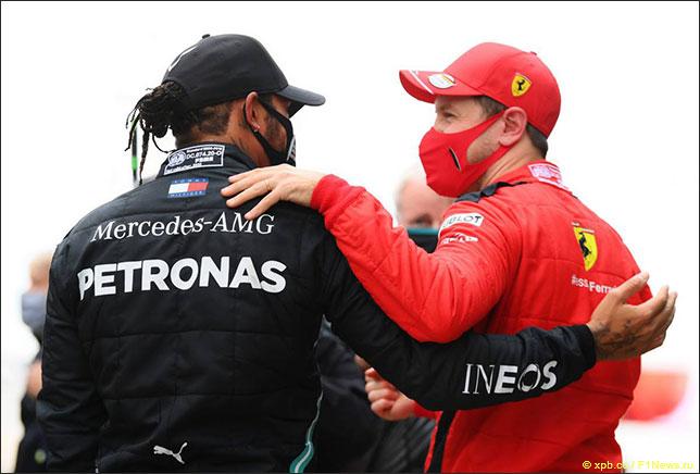 Льюис Хэмилтон и Себастьян Феттель после финиша Гран При Турции