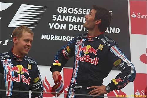 Себастьян Феттель и Марк Уэббер на подиуме Гран При Германии