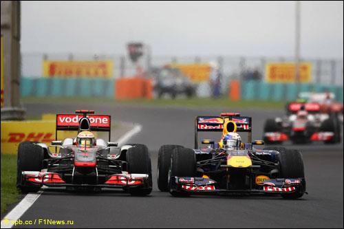Борьба Себастьяна Феттеля с Льюисом Хэмилтоном на Гран При Венгрии