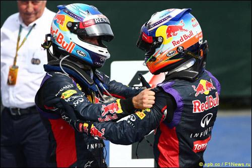 Себастьян Феттель и Даниэль Риккардо после финиша Гран При Канады