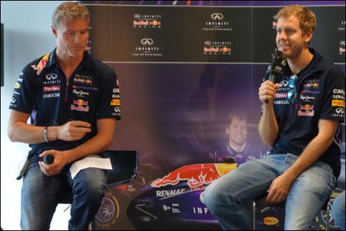 Дэвид Култхард и Себастьян Феттель на пресс-конференции в Сочи