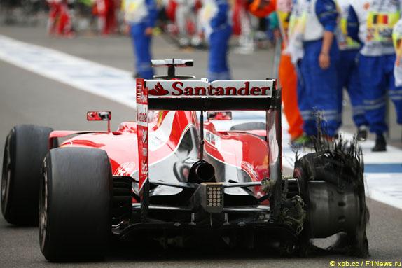 Les suites d'une explosion de pneu sur la voiture de Sebastian Vettel