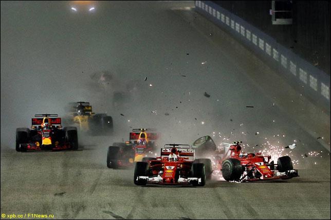 Авария гонщиков Ferrari на Гран При Сингапура