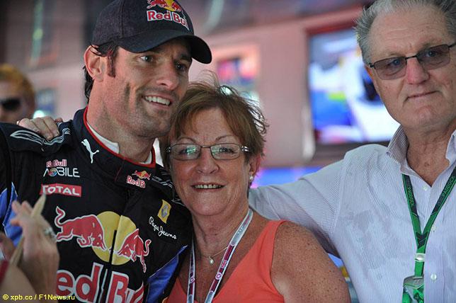 Марк Уэббер и его родители на Гран При Великобритании, 2010 год