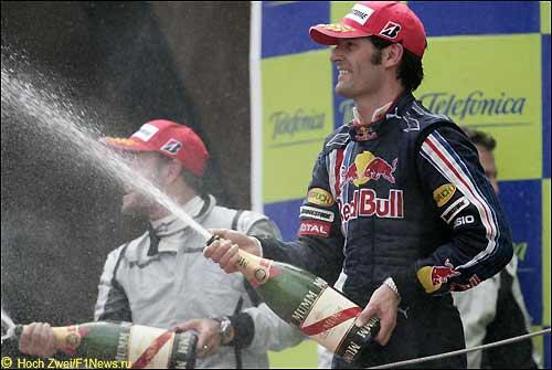 Марк Уэббер на подиуме Гран При Испании
