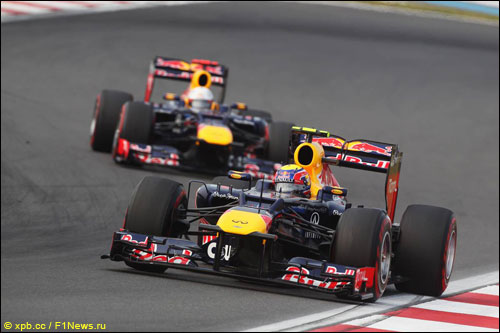 Марк Уэббер и Себастьян Феттель на прошлогоднем Гран При Кореи
