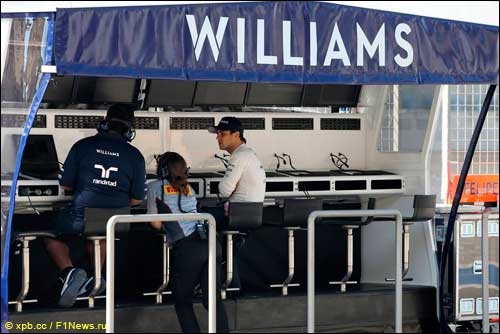 Командный мостик Williams на тестах в Бахрейне