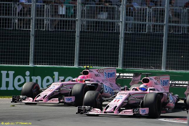 Эстебан Окон преследуюет Серхио Переса на трасса Гран При Канады